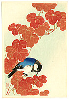 Sozan Ito 1884-? - Blue and White Bird and Red Leaves