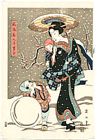 Eizan Kikugawa 1787-1867 - Beauty and Children in Winter