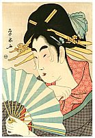 Eisui Ichirakusai active ca. 1790-1823 - Courtesan with Ogi Fan