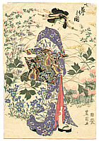 Toyokuni II Utagawa 1777-1835 - Beauty in Autumn Garden