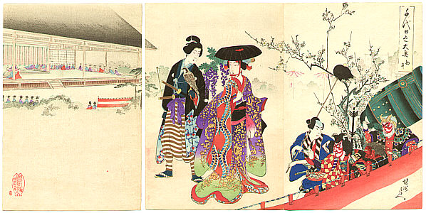 Chikanobu Toyohara 1838-1912 - Theater Performance - Ladies of Chiyoda Palace
