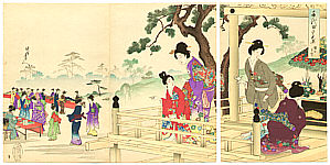 Chikanobu Toyohara 1838-1912 - Buddha Festival - Ladies of Chiyoda Palace