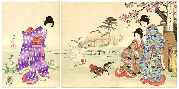Chikanobu Toyohara 1838-1912 - Village Excursion  - Ladies of Chiyoda Palace