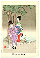 Shuntei Miyagawa 1873-1914 - Sheltering from Shower  - Yukiyo no Hana