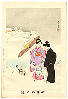 Shuntei Miyagawa 1873-1914 - Puppies in the Snow  - Yukiyo no Hana