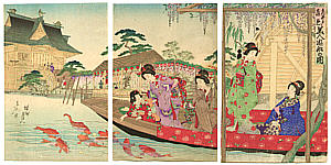 Chikanobu Toyohara 1838-1912 - Beauties in Pleasure Boat