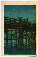 Hasui Kawase 1883-1957 - Bridge at Night