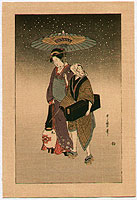 Utamaro Kitagawa 1750-1806 - Outing in the Snow
