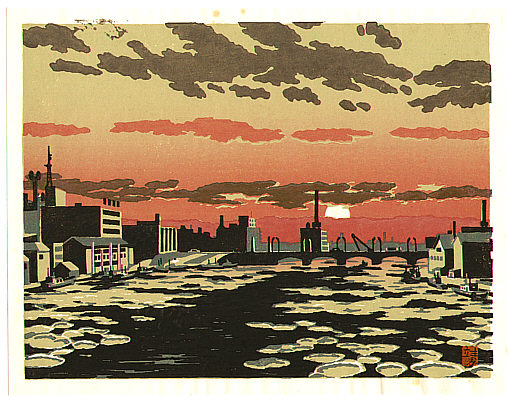 Yasushi Omoto born 1926 - Harbor in the Sunset