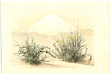 Gekko Ogata 1859-1920 - Autumn Flowers and Mt.Fuji -  One Hundred Fuji