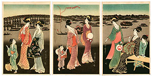 Utamaro Kitagawa 1750-1806 - Fireworks at Ryogoku