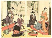 Kiyonaga Torii 1752-1815 - Beauties and Shamisen