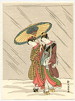 Harunobu Suzuki 1724-1770 - Beauties under Umbrella