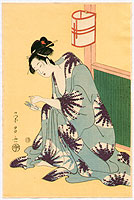 Eisho Chokosai fl.ca. 1789-1800 - Bijin with Scissors