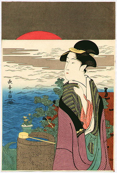 Choki Eishosai fl. 18/19th C. - Beauty and Red Sunrise