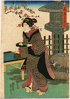 Yoshifusa Utagawa active ca. 1840-1860 - Beauty in Tea House