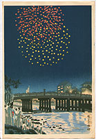 Eiichi Kotozuka 1906-1979 - Fireworks at Kamo River