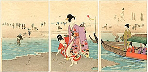 Chikanobu Toyohara 1838-1912 - Gathering Clams