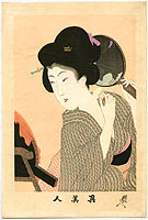 Chikanobu Toyohara 1838-1912 - Beauty and Mirror - Shin Bijin
