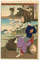 Chikanobu Toyohara 1838-1912 - Carrying Twigs - Nijushi Ko Mitate E Awase