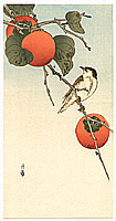 Gesso Yoshimoto 1881-1936 - Bird and Persimmons