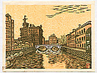 Unichi Hiratsuka 1895-1997 - Sukiya Bridge - Recollections of Tokyo
