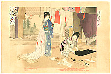 Toshikata Mizuno 1866-1908 - Airing Clothes - Brocades of the Capital