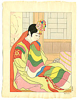 Paul Jacoulet 1902-1960 - The Bride, Seoul Korea - La Mariée, Seoul Corée