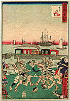 Ikkei Shosai ca. 1870 active - Fight - 36 Comics of the Famous  Places in Tokyo