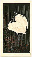 Soseki Komori active 1920s-1930s - Herons in Rainy Night