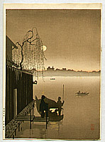 Eijiro Kobayashi active 1930's - Evening Cool on Sumida (Sepia)