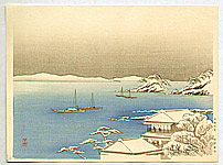 Yoshimune Arai 1873-1945 - Snow in Wakanoura Bay