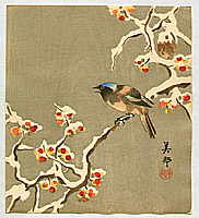 Biho  active  ca. 1900 - Bird on Snow Covered Berry Branch