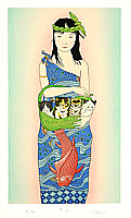 Ryusei Okamoto born 1949 - Lady, Carp and Four Kittens -  Boating (blue)