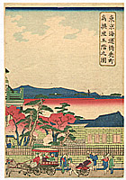 Hiroshige III Utagawa 1842-1894 - Horse Carriage and  Rickshaws