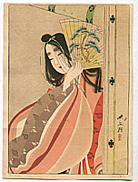 Eikyu Matsuoka 1881-1938 - Beauty and Fan