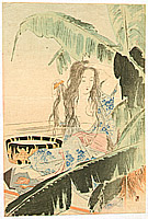 Shoso Mishima 1856-1928 - Beauty and Banana Tree