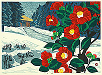 Waichi Hayashi born 1951 - Camellia in Winter
