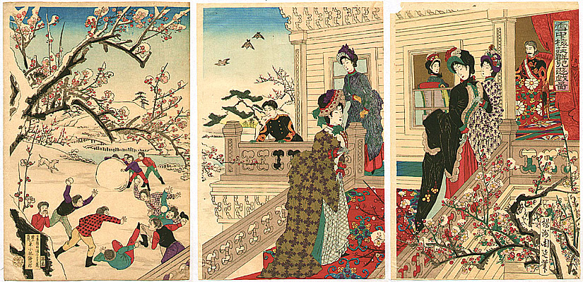 Chikanobu Toyohara 1838-1912 - Beauties and Snow Play