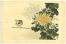 Bairei Kono 1844-1895 - Bird and Flowers