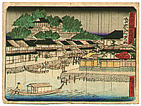Hiroshige III Utagawa 1842-1894 - Night Rain at Matsuchiyama - Thity-six Views of Modern Tokyo