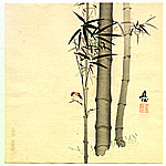 Chokujo Fukada 1861-1947 - Sparrow and Bamboo
