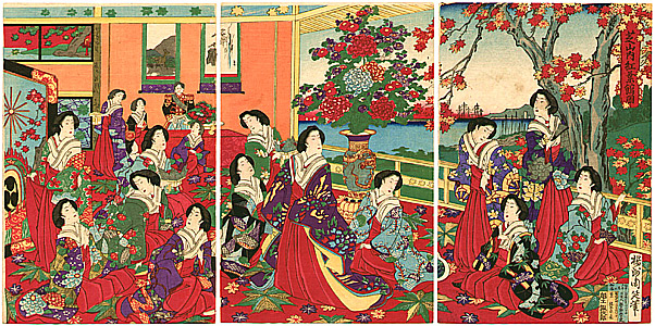 Chikanobu Toyohara 1838-1912 - Beauties and Maple Trees