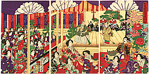 Chikanobu Toyohara 1838-1912 - Emperor and Empress at Noh Play