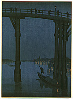 Eijiro Kobayashi active 1930's - High Bridge - Night Scene Series