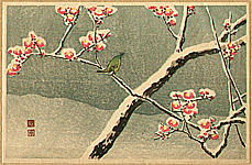 Hiroaki Takahashi 1871-1945 - Bush Warbler and Snowy Plum Tree