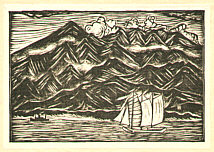 Shigetoshi Ishizaki 1901-1996 - Scenery - Sail Boat and Mountains