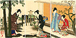 Chikanobu Toyohara 1838-1912 - Welcoming a Guest