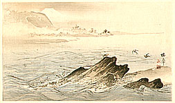 Seiho Takeuchi 1864-1942 - Sea Birds over Rocky Shore - Seiho Twelve Fuji