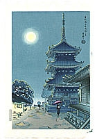 Benji Asada 1899-1984 - Misty Moon at Kiyomizu Temple